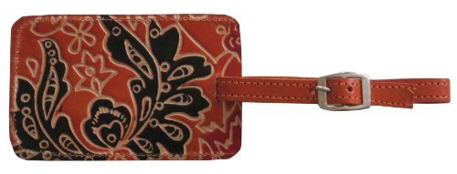 Fair Trade Cruelty-Free Leather ChromaLuggage Tags by Handmade Expressions (Chroma Orange)
