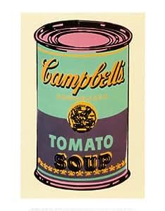 Lámina 'Lata de sopa Campbell, 1965, verde y morado', de Andy Warhol, Tamaño: 28 x 36 cm