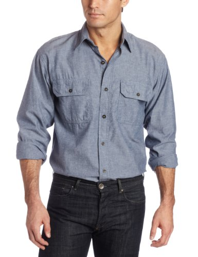 Key Apparel Men's Long Sleeve Button Down Pre-Washed Chambray Shirt, Blue Chambray, Large-Regular (Double Pockets Long Sleeve)