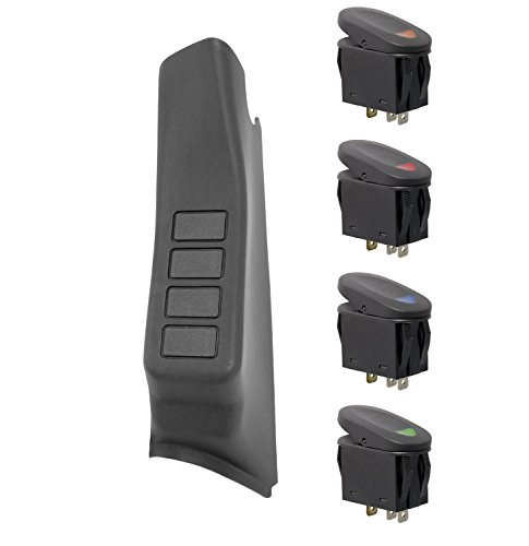 Rugged Ridge 17235.96 Black Left Side A-Pillar 4-Switch Pod Kit