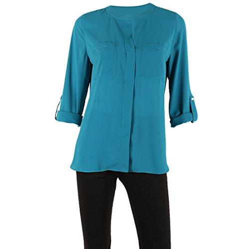 Women's Roll Tab Sleeve Zipper Front Double Pockets Solid V-Neck Zipper,Mykonos Teal,Large