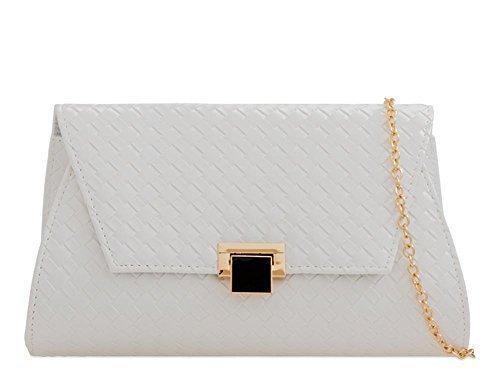 Noir DIVA haute pochette femmes Large tressé pour Blanc wXXF6r5q
