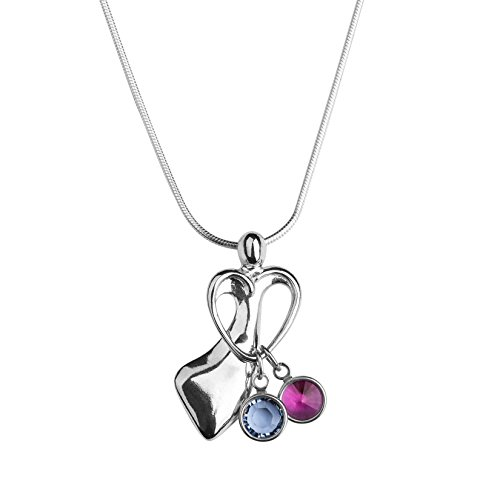 Loving Family Sterling Silver Pendant Necklace with 2 Swarovski Crystal Birth Month Charms - 18
