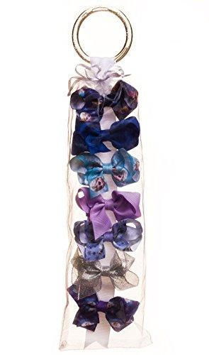 Olaf Shirt Costume (Disney Frozen Anna Elsa Olaf Girl Christmas Style Bow Set 7PK Blue Purple Silver)