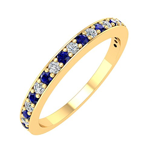 - IGI Certified 14k Yellow Gold Wedding Band with Diamond & Blue Sapphire Color Stone (1/4 Carat)