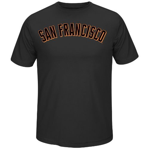 MLB San Francisco Giants Men's Short Sleeve Crew Neck Synthetic Tee, Black, - Francisco Mens San Giants Shorts