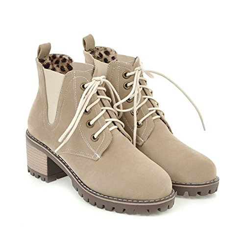 NVXIE Womens Martin Boots Lace Scrub Rough Heel Round head Black Brown Fall Winter Party Work BEIGE-EUR40UK7 5bPd7BTJu