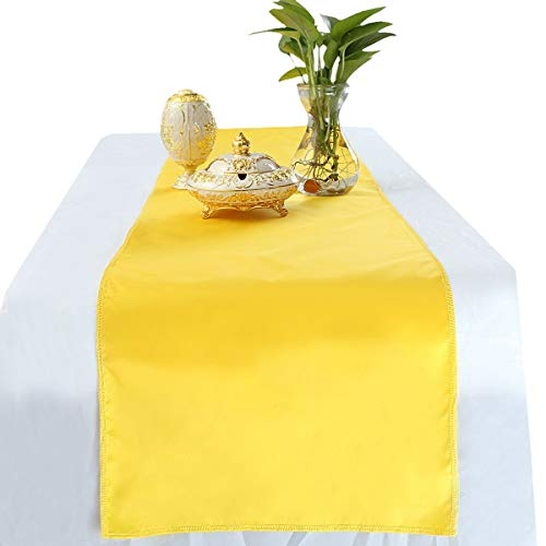 rockcloud 12 x 72 Inch Yellow Table Runner for Wedding Banquet Decorations, Christmas, Birthday, Graduation, Prom, Party Table Decor (Yellow Runners)