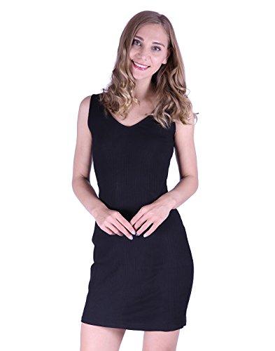 HDE Womens Plus Size Tank Top Dress Bodycon Casual Basic Sleeveless V Neck Tunic (Black, (Short Dress Spandex Little Black Dress)