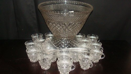 Wexford Punch Bowl w/ Stand or Base 16 Cups & Ladle Crystal Clear