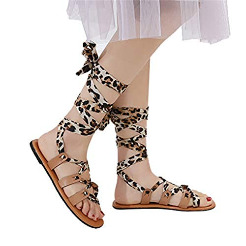 〓COOlCCI〓Women's Fashion Gladiator Design Knee High Flat Sandals Platform Wedges Mid Calf Lace-up Flat Sandals Black