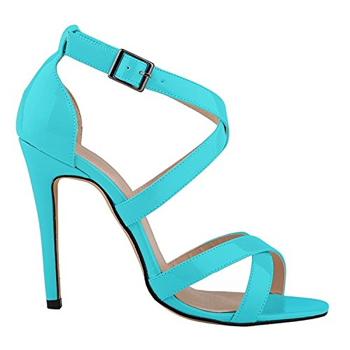 oppicong Chic Women's Ankle Strap High Heels PU Patent Leather Sandals Pumps Blue7.5 B(M) - Arundel Mill