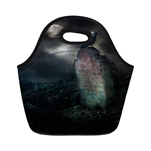 Semtomn Neoprene Lunch Tote Bag Poe Crow on Gravestone in Horror Halloween Setting Allen Reusable Cooler Bags Insulated Thermal Picnic Handbag for Travel,School,Outdoors,Work -