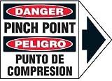 Vinyl Bilingual Arrow Labels - Danger Pinch Point - 1-3/4''h x 2-1/2''w, White DANGER PINCH POINT PELIGRO PUNTO DE COMPRESION