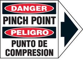 Vinyl Bilingual Arrow Labels - Danger Pinch Point - 1-3/4''h x 2-1/2''w, White DANGER PINCH POINT PELIGRO PUNTO DE COMPRESION by Emedco