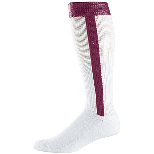 Augusta Intermediate Two-In-One Baseball Sock (Maroon, Medium (9-11)) by Augusta