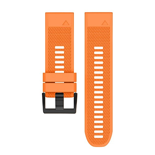 Owill Replacement Silicagel Soft Quick Release Kit Band Strap For Garmin Descent Mk1 GPS Watch, Multi Colour For Choose (Orange) by Owill