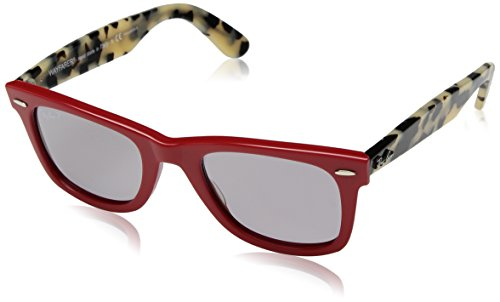 Ray-Ban RB2140 Wayfarer Sunglasses, Red/Polarized Grey, 50 ()