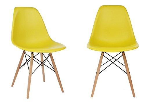Ariel DSW Dark Yellow Plastic Shell Chair with Wood Eiffel Legs Set of 2