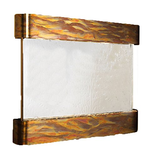 Copper Round Wall Fountain - Teton Falls Water Feature with Round Edges and Rustic Copper Trim (Silver Mirror)