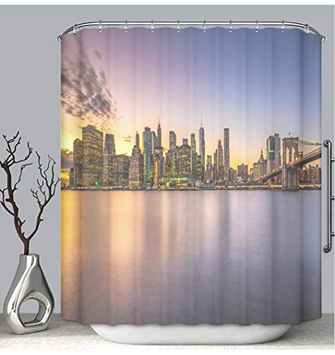 BEICICI Color Shower Curtain Liner Anti-Mildew Antibacterial Horizontal View Manhattan Downton Blue Hour Brooklyn Bridge Custom Shower Curtain Bathtub Bathroom Accessories 66W×72Linch (6042 Bathtub)