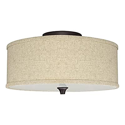 "Revel Newport 14"" 2-Light Semi-Flush Mount Ceiling Light Fixture w/ Beige Linen Drum Shade, Oiled Bronze Finish"
