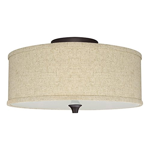Revel / Kira Home Newport 14' 2-Light Semi-Flush Mount Ceiling Light + Beige Linen Drum Shade, Oil-Rubbed Bronze Finish