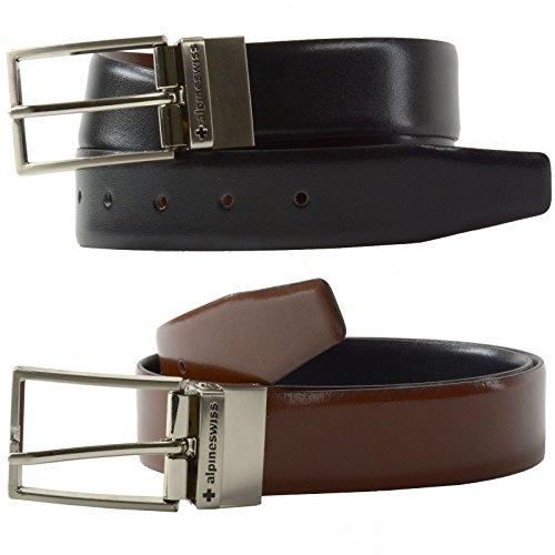 alpine swiss Men's Dress Belt Reversible Black Brown Leather, Solid, Size 42