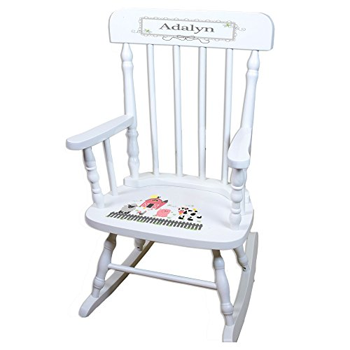 MyBambino Personalized Barnyard Friends Pastel White Wooden Childrens Rocking Chair by MyBambino