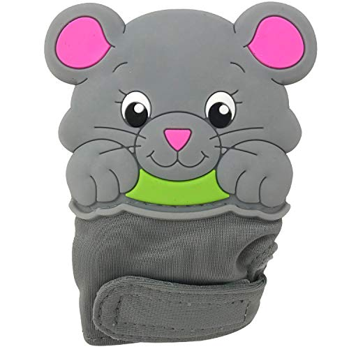 Silli Chews Baby Teething Mitten for Babies Infant Silicone Self Soothing Teether Toy Munch and Bite Chew Toys Newborn Soother Scratch Hand Mitt Animal Finger Puppet Unisex Grey Mouse