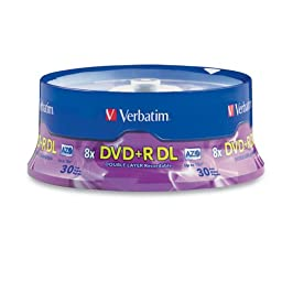 Verbatim DVD+R DL AZO 8.5GB 8x-10x Branded Double Layer Recordable Disc, 30-Disc Spindle 96542