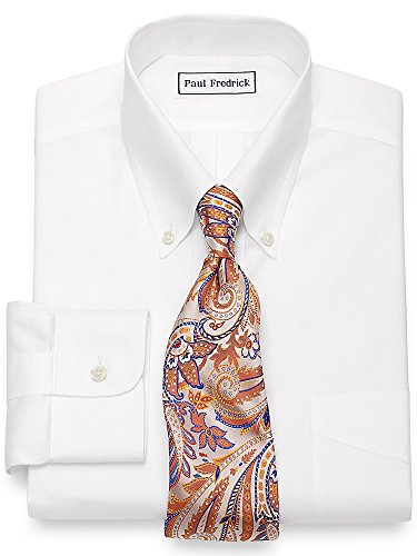Paul Fredrick Men's Non-Iron 2-Ply Cotton Button Down Collar Dress Shirt White 17.5/34 (Iron Two Ply Cotton Non Shirt Dress)