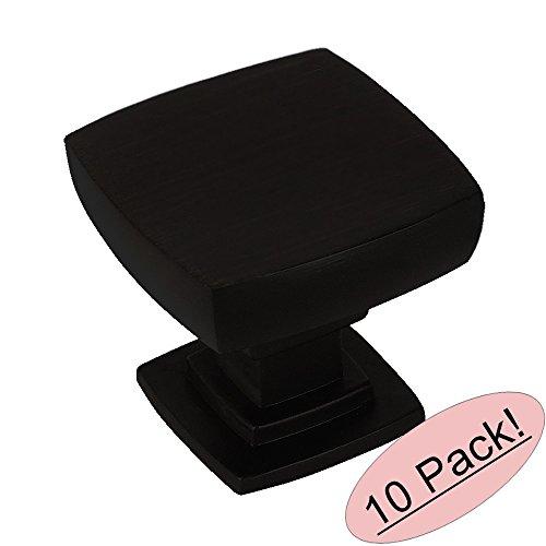 Contemporary Square Knob - Cosmas 5232FB Flat Black Contemporary Square Cabinet Knob - 10 Pack