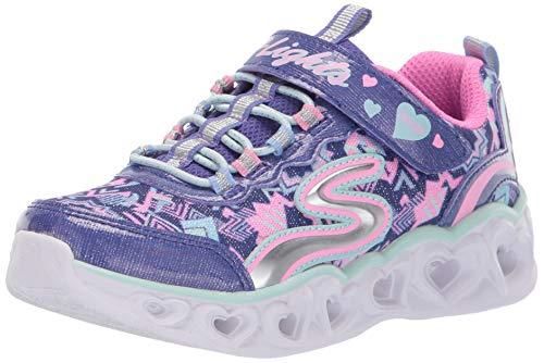 Skechers Kids Girls' Heart Lights Sneaker, Purple/Multi, 10 Medium US Toddler