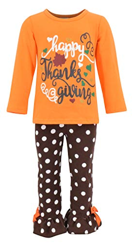 Unique Baby Girls 2 Piece Happy Thanksgiving Orange and Brown Fall Outfit (2t) ()