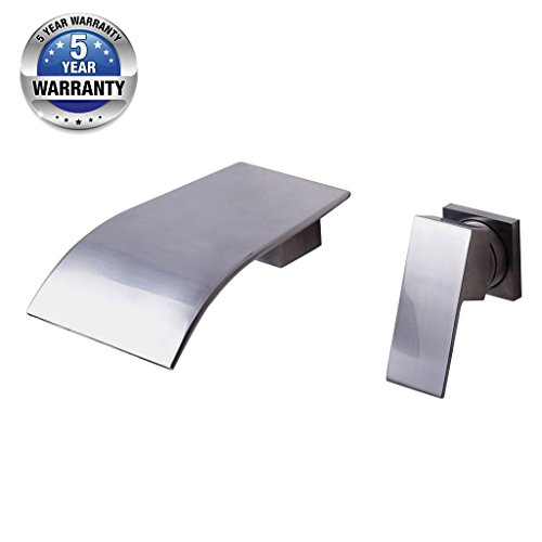 Wall Mount Two Holes Bathroom Sink Faucet Single - Waterfall Wall Mount