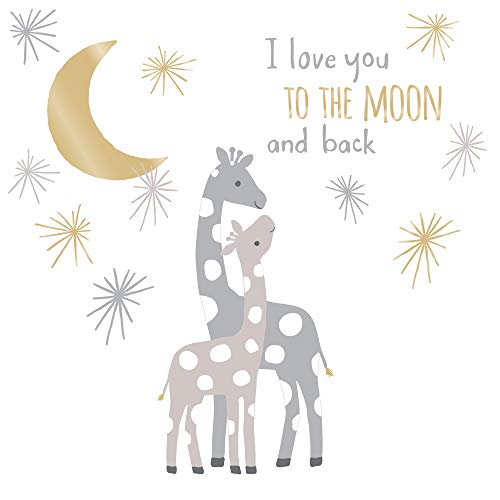 Lambs & Ivy Signature Moonbeams Wall Decals/Appliques – Gray, Gold, Animals