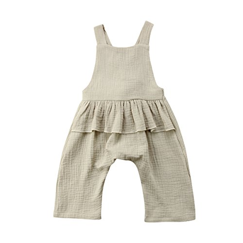 Wiwiane Baby Girl Sleeveless Ruffle Romper Jumpsuit Backless Playsuit Outfit Overalls (Light Green, 6-12 Months) ()
