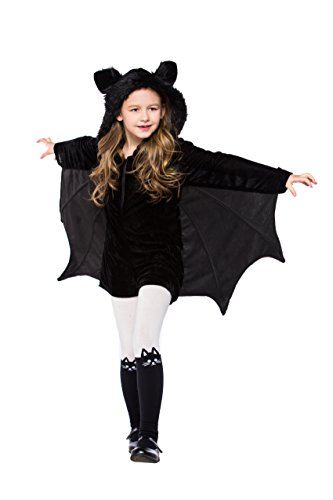 YOLSUN Girls' Vampire Bat Costume, Halloween Animal Cute Dress up (6-7y(Suggested Height:48