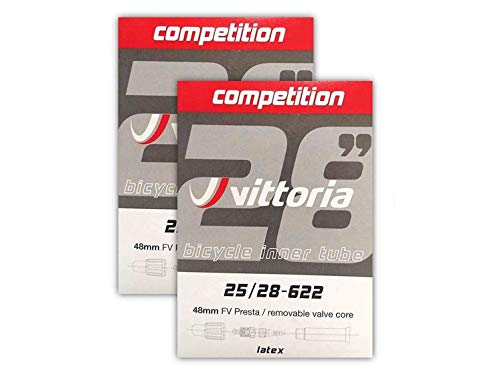 Vittoria Latex Tube 700x25/28 48mm Presta Valve - 2-Pack w/ Decal