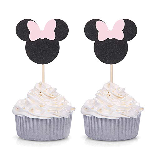 Pack of 24 Pink and Black Minie Mouse Inspired Cupcake Toppers for Baby Shower Girl's Birthday Party Decorations (Cupcakes Minnie Mouse)