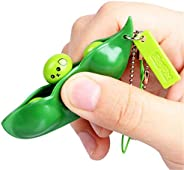 Tmrow Fidget Toy, Fun Bean Fidget Toy Squeeze-a-Bean Soybean Edamame Stress Relief Anti-Anxiety Toy Keychain f