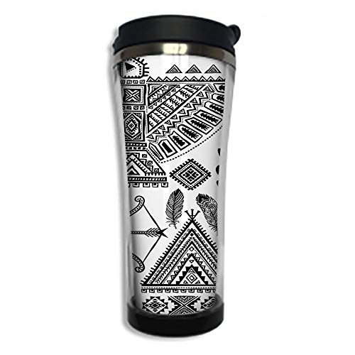 Travel Coffee Mug 3D Printed Portable Vacuum Cup,Insulated Tea Cup Water Bottle Tumblers for Drinking with Lid 8.45 OZ(250 ml)by,Tribal,Native American Feather Head Band Ethnic Teepee Tent Bow and ()