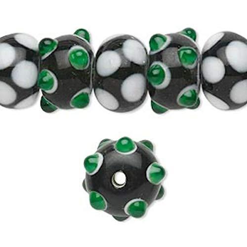 20 Lampwork Rondelle Black White Green Bumpy Beads ~ 14x9mm