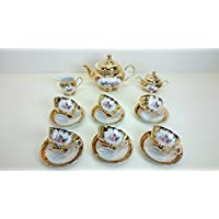Tea set made in Italy full 24k gold with pink flower