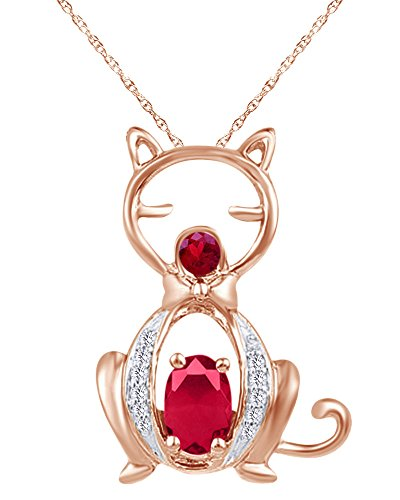 Wishrocks 14K Rose Gold Over Sterling Silver Oval Shape Red Simulated Ruby & White Natural Diamond Cat Pendant
