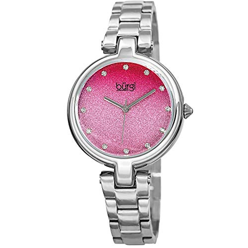 Burgi Designer Women's Watch - Stainless Steel Chain Link Band, Pink Glitter Dial, Swarovski Crystal Markers - BUR226SSPK
