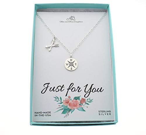 Compass and Crossed Arrows Off Set Charm Necklace in Sterling Silver. Charm Necklace. Compass Necklace. Arrow Necklace