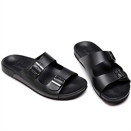 Sandales Réglable Chaussures Cuir Mules de Insun Boucle Avec Vachette Noir Adulte Zn1xqqP