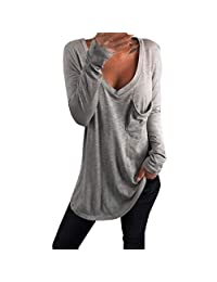 Minikoad_Women Coat Clearance Sale Women V-Neck Long Sleeve Tops ❀ Ladies Solid Casual Pocket T-Shirt Blouse Tunic Tops